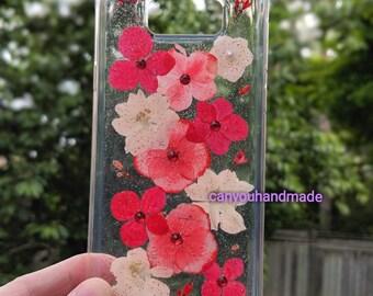my handmade nature pressed dried flower Samsung S8 plus crystal hard case