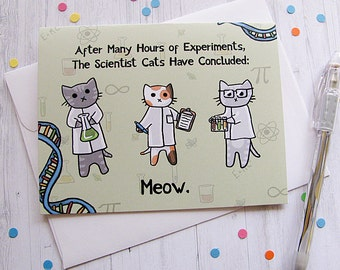 Funny Cat Card Any Occasion Card Cute Greeting Card Science Kittens Nerdy Card Geek Card Just Because Card Thinking of You Note