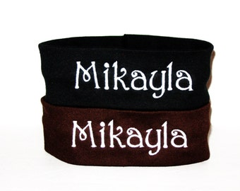 Set of 2 Monogrammed Headbands - 20 Colors to Choose From - U Pick All - Shown are Brown and Black
