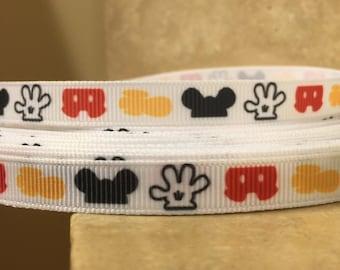 "5 YDS Mickey Mouse Body Parts Ribbon (3/8"")."