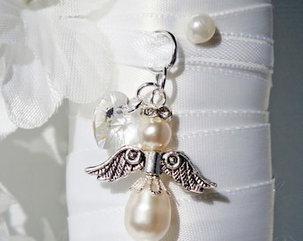 Wedding Bouquet Charm White Swarovski Crystal and Pearl Angel Bouquet Charm Bridal Bouquet Charm