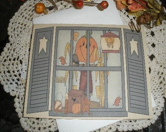 Primitive Scarecrow Autumn Fall Window Note Cards ~ N86