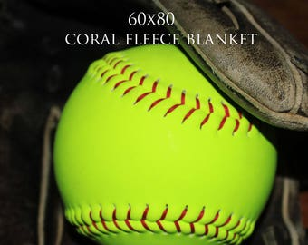 SALE! Softball Fleece Blanket-Slightly Distressed Blanket--60x80 Coral Fleece-Sports Decor-Florescent Yellow-Green/Black Blanket