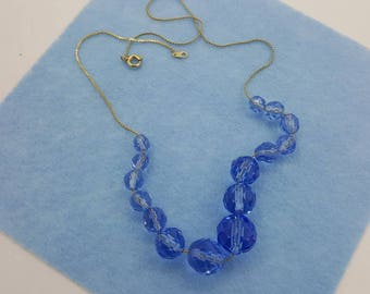 Vintage Blue faceted Glass Beads on a Gold Filled Chain Choker Necklace Eames Era beautiful blue glass