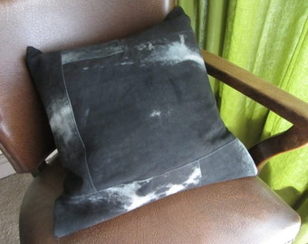 "Handmade one of a kind upcycled black and white patchwork leather  cushion / pillow with clay pipe tag. 16"" / 40cm  (Ref charcoal and chalk)"