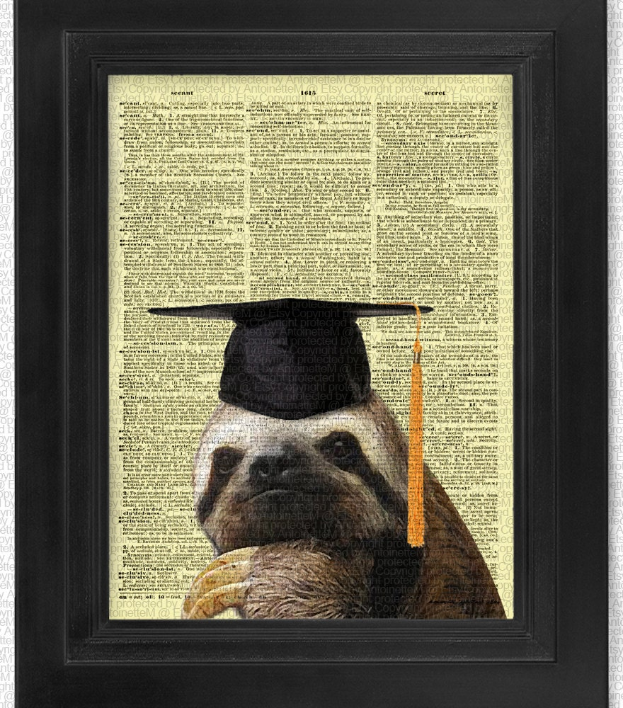Graduate Cool Sloth on Antique Dictionary Page art print