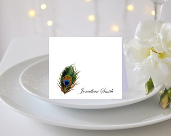 PEACOCK FEATHER WEDDING Placecard   Personalized Peacock Feather Escort Card for Wedding   Beautiful Printed Peacock Wedding Table Cards