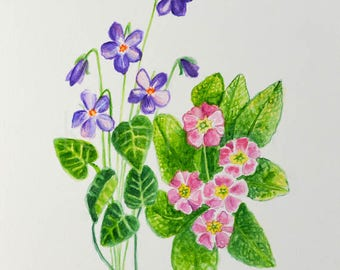 Violet and Primrose, February birthday flower, original watercolor painting, birth month flower, February birthday gift