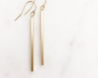 SLOANE | Gold Bar Earrings | Dangle Bar Earrings | Skinny Bar Earrings | Long Bar Earrings | Gold Stick Earrings Dainty Simple Bar Earrings