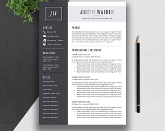 Professional Resume Template, Cover Letter, CV Template, Word, Mac and PC, Creative, Modern Teacher Resume, Instant Download, JUDITH