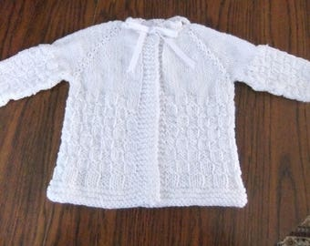 BABY SWEATER / WHITE Baby Sweater / Size 3-6 Months Size Sweater /Size 12-18 Months Size Sweater / Knitted Sweater / Christening Sweater