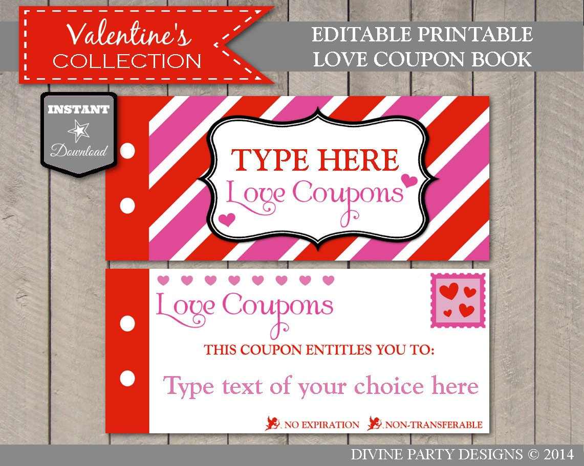 Sale instant download editable printable love coupon book for Coupon book template for husband
