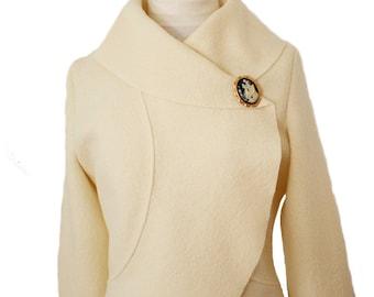 Women Bridal Boiled Wool Wedding Jacket size XS-XL