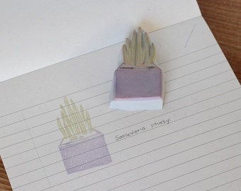 Sansevieria stuckyi rubber stamp. Plant stamp. Flowerpot stamp. Hand carved stamp. Handmade stamp. Cute stamp. Nature stamp.