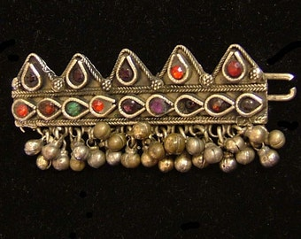 Kuchi tribal silver barrette with tiny bells and glass embellishment, Pakistan 3 x 1/1/2 ""
