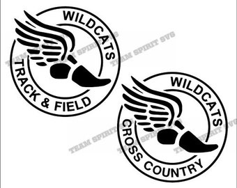Wildcats Cross Country Track & Field - SVG, DXF, EPS, Silhouette Studio, Vinyl, Digital Cut Files - Use with Cricut and Silhouette