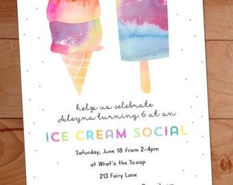 Ice Cream Party Invitation, Ice Cream Birthday Party Invite, Watercolor Invitation, Kids Ice Cream Social, Ice Cream Cone, Popsicle