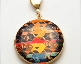 Locket Necklace Geometric Design Alyson Fox Jewelry Color Study I Triangles Triangle Necklace Vintage Lockets Long Necklace Original Art