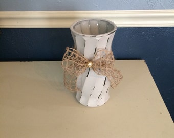 Shabby Chic Tan Vase with Bow
