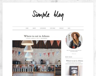 Simple Blogger Template / Responsive Blogger Template / Premade, Clean and Minimal Blog Design for Fashion + Lifestyle Bloggers