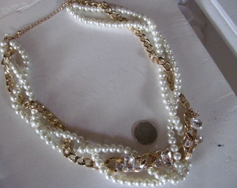 Vintage Huge Double Strand Faux Pearls Necklace With Huge Resin Rhinestones Glam & shiny, Excellent, Gold Tone