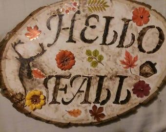 Fall sign, Hello Fall,wood burned