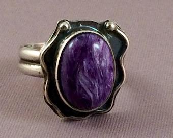 Charolite ring.  Size 6.  Purple gemstone ring.  US size 6.  Boho artisan handmade ring. Devine Designs Jewelry