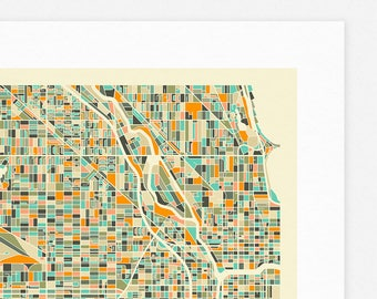 CHICAGO MAP (Giclée Fine Art Print/Photo Print/Poster Print) by Jazzberry Blue (ivory version)