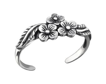 Sterling Silver 3 Flowers Toe Ring