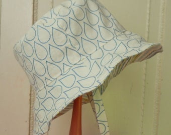 White Sun Hat, 6 to 12 Month Reversible Bucket Hat