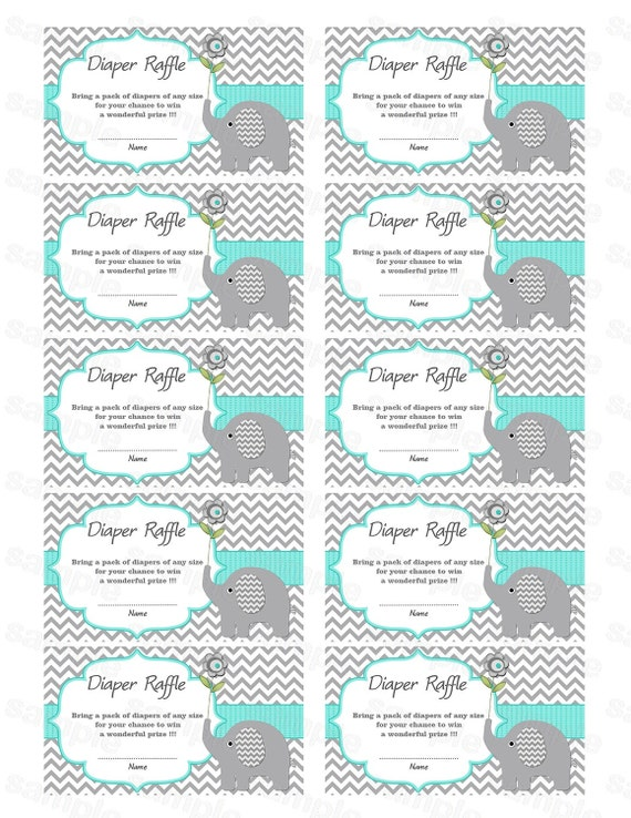 Attractive Elephant Baby Shower Diaper Raffle Ticket Diaper Raffle Card