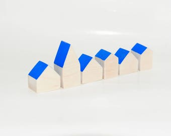 Miniature wooden houses. Set of 6 pieces. The small village for home decor. Cobalt blue roof