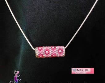 """Hana-kan"" Pink Flower necklace woven miyuki beads"