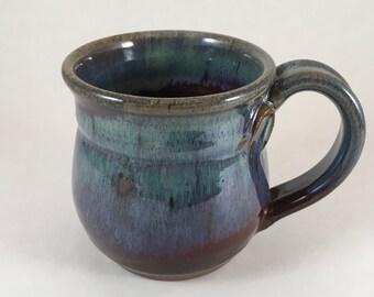 Pottery Mug, Small Stoneware Mug, Ceramic coffee cup, Handmade, Multicolored Office mug, Gift, Unique Mug, Ready to Ship