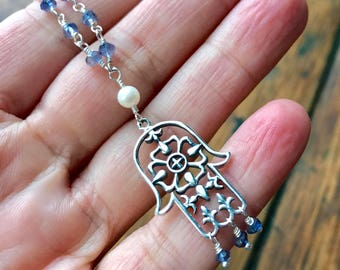 Sterling Silver Filigree Hamsa Hand of Fatima Pendant with Iolite Gemstone and Freshwater Pearl