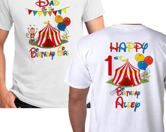2 Sided Circus Birthday GIRL Shirt - Adult Circus Birthday Shirt - Circus Shirt - Circus Personalized name Shirt - Mom Dad of the