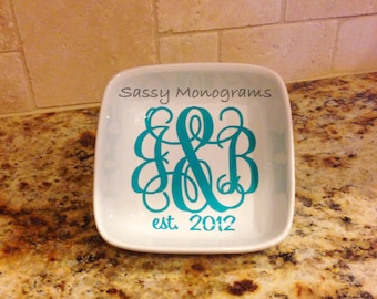 Couples Monogrammed Jewelry Dish - Monogrammed Ring Dish - Jewelry Holder - Ring Bowl - Bridal Gift - Wedding Gift - Engagement Gift