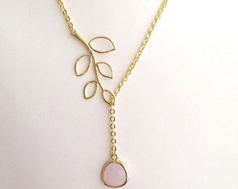 Gold Leaf and Pink Necklace. Pink Necklace. Gold Lariat.Leaf Necklace.Leaves Necklace.Bridesmaids.Bridal Jewelry.Bridesmaid Gift.Pink Opal.