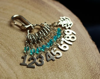 Meditation Count Keepers - Progress Keepers 1 - 9 - Stainless Steel Knit or Crochet Stitch Markers - Numbers 1-9 - Calming Blue