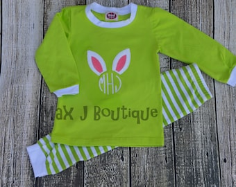 Monogrammed Applique Green Stripe Spring and Easter Bunny Pajamas