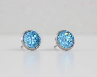 Azure Blue Druzy Crystal Earrings   ATL-E-158