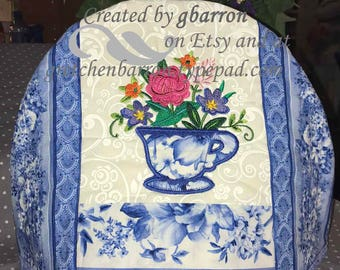 Wedgewood Blue -- Appliqued and Embroidered and Insulated Tea Cozy