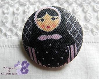 Fabric button, matruschka, 1.57 in / 40 mm