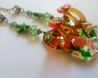 Orange Green Clear Lampwork Glass Flip Flop/Slipper with Green Starfish Sealife Pull Chain Fan pull for Ceiling Fans, Lamps and Lights