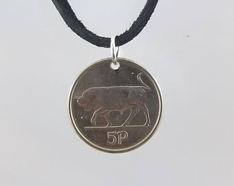 Irish Coin Necklace, 5 Pingin, Coin Pendant, Leather Cord, Mens Necklace, Womens Necklace, Birth Year, 1993