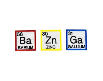 Bazinga Patch - Set of 3 Bazinga Periodic Elements Embroidered Iron On Patch Set Iron on Applique