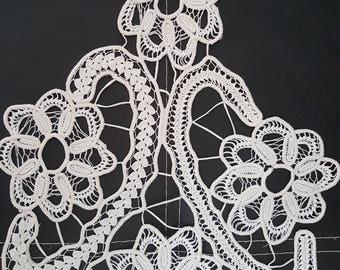 Romanian Point Lace ,Handmade Crochet Doily, Oval, Floral,Unique,Vintage