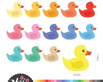 30 Color Rubber Duck Clipart - Instant Download