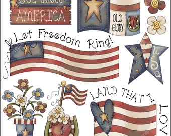Freedom Rings 1 - Clip Art Designs Graphics Illustrations Doodles Artwork Instant Digital Download, Commercial Use Allowed