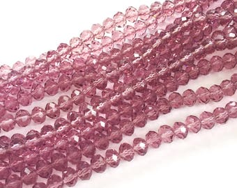 Transparent Purple Rondelle Beads, Faceted Rondelle Beads, 6mm Rondelle Beads, Dark Purple Rondelle Beads, Purple Crystal Rondelle Beads